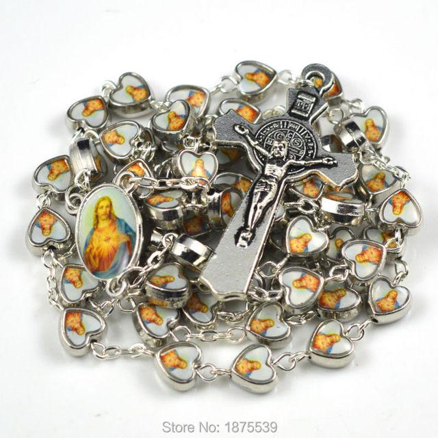 High quality heart Jesus catholic rosary classic style