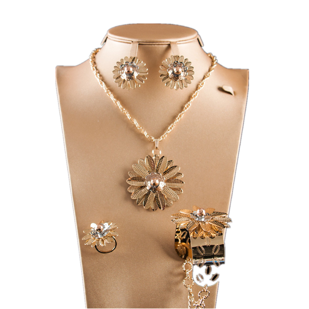 Dealky Gold Necklace Designs Girls Flower Afrcian Gold Plating Jewelry Sets Costume Luxury Necklace Set Free Shipping