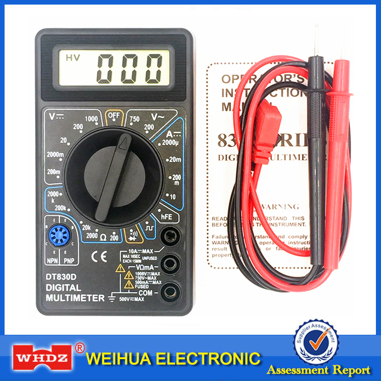 WHDZ DT 830D Mini Digital Multimeter Voltage Ampere Ohm Tester with Buzzer Overload protection Safety Probe