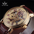 SEWOR Fashion Watches Men Top Brand Luxury Gold Skeleton Mechanical Wristwatch Leather Band Sport Watch For Men Automatic Clock