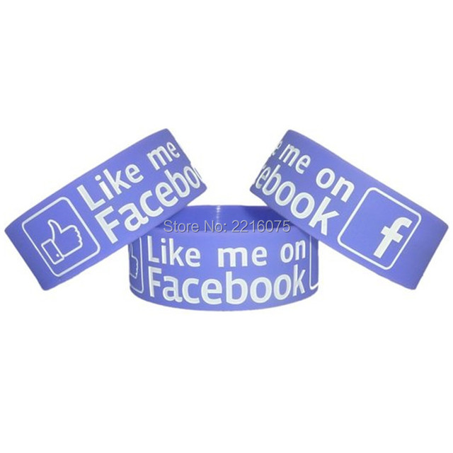 US $210 0  300pcs One inch Inspirational Like me on Facebook wristband  silicone bracelets free shipping by DHL express-in Cuff Bracelets from  Jewelry