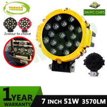 51W 7inch led work light cree driving 51w  off road or SUV,ATV,UTV use 3570LM Yellow color
