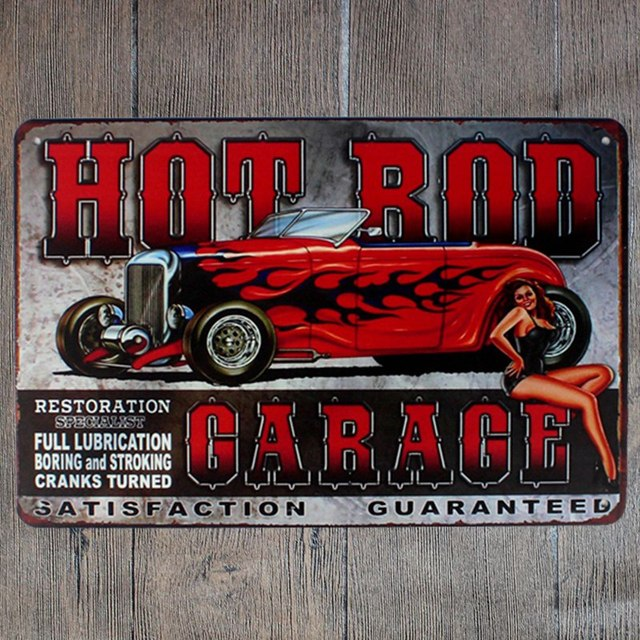 30x20cm Hot Rod Garage Retro Vintage Home Decor Tin Sign For Wall Metal