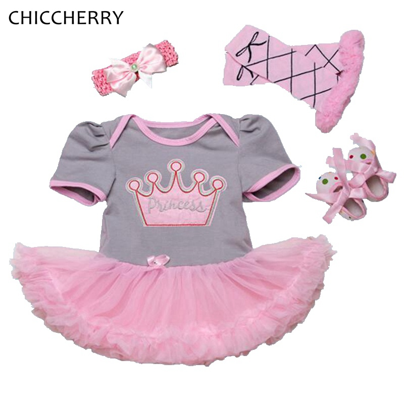 Crown Toddler Birthday Outfits Infant Princess Dress Headband Leg Warmers Crib Shoes Girls Birthday Tutu Sets Baby Girl Clothes