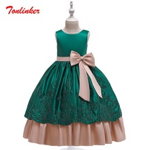 2019 Long Style Princess Girls Party Embroidered Tutu Dress Bow-Knot Children day Wedding Birthday Clothes Theme Party Dress недорого
