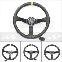 SP car Sport steering wheel racing type High quality universal 14inches 350MM Aluminum bullhide or PVC or suede 3 style