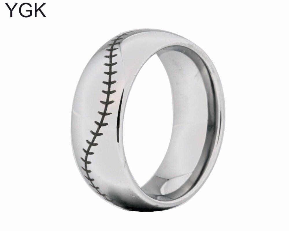 Ygk Brand 8mm Silver Dome Baseball Stitchfort Men's Fashion Tungsten Wedding  Ring(china (