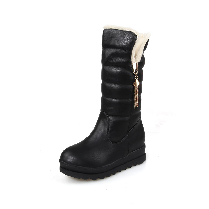 2018 New arrival Winter black White PU Slip-on Women Snow boots Flat with Mid-calf round toe shoes woman