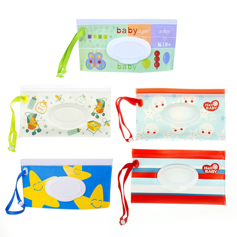 Clutch And Clean Wipes Carrying Case Eco-friendly Wet Wipes Bag Clamshell Cosmetic Pouch Easy-carry Snap-strap Wipes Container