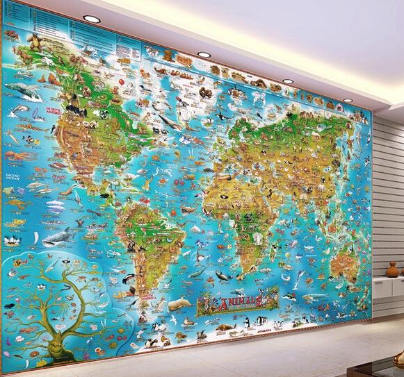 Custom Papel DE Parede Infantil, Animal World Map Murals For Boys And Girls Children Room Bedroom Background Wallpaper