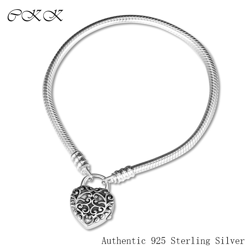 100 925 Sterling Silver Bracelet Smooth Padlock Regal Heart Clasps Snake Bracelets for Women Gift Fit