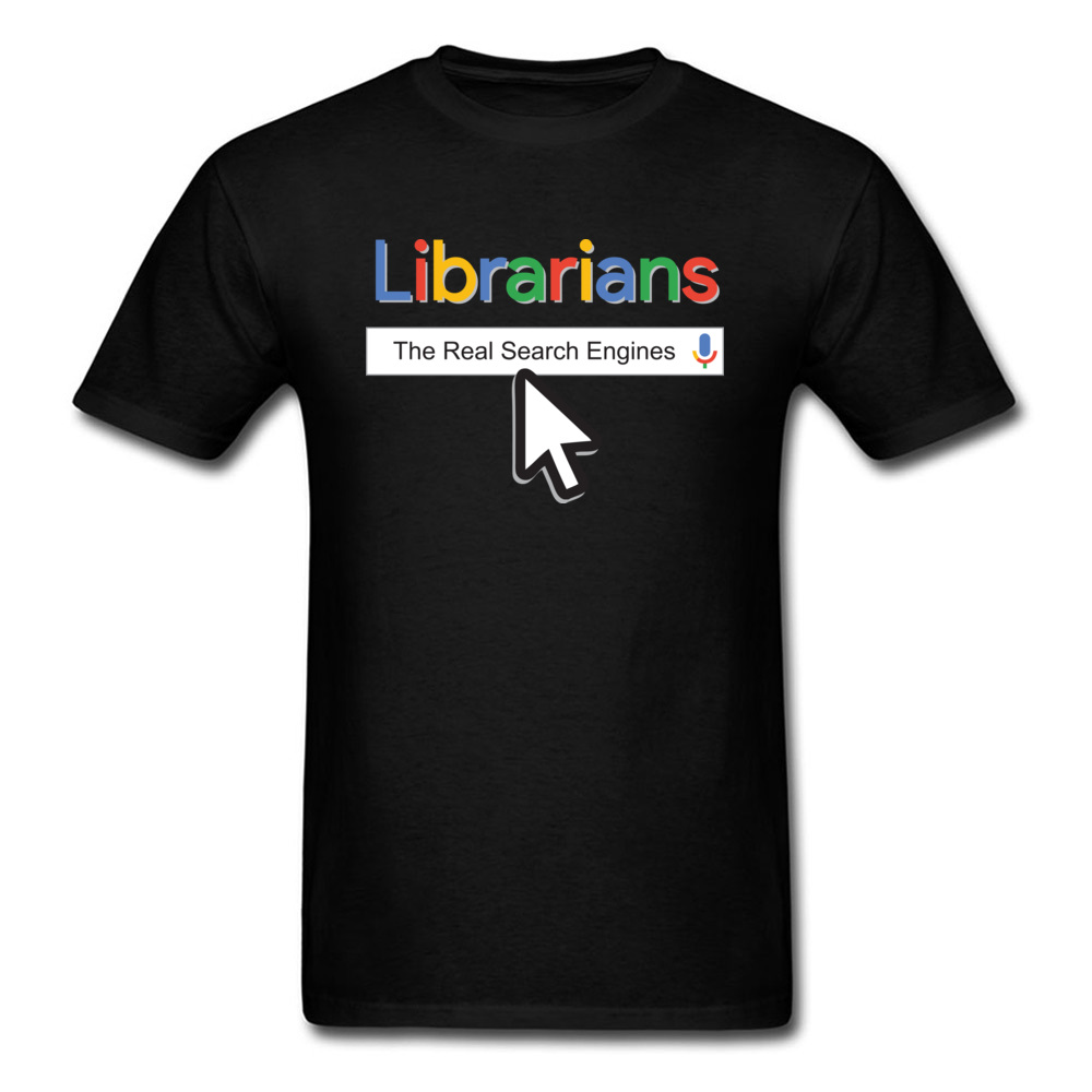 Men Fitted Tees Crew Neck Labor Day Cotton Fabric T-Shirt 2018 Fashionable Librarians The Real Search Engines T Shirts image