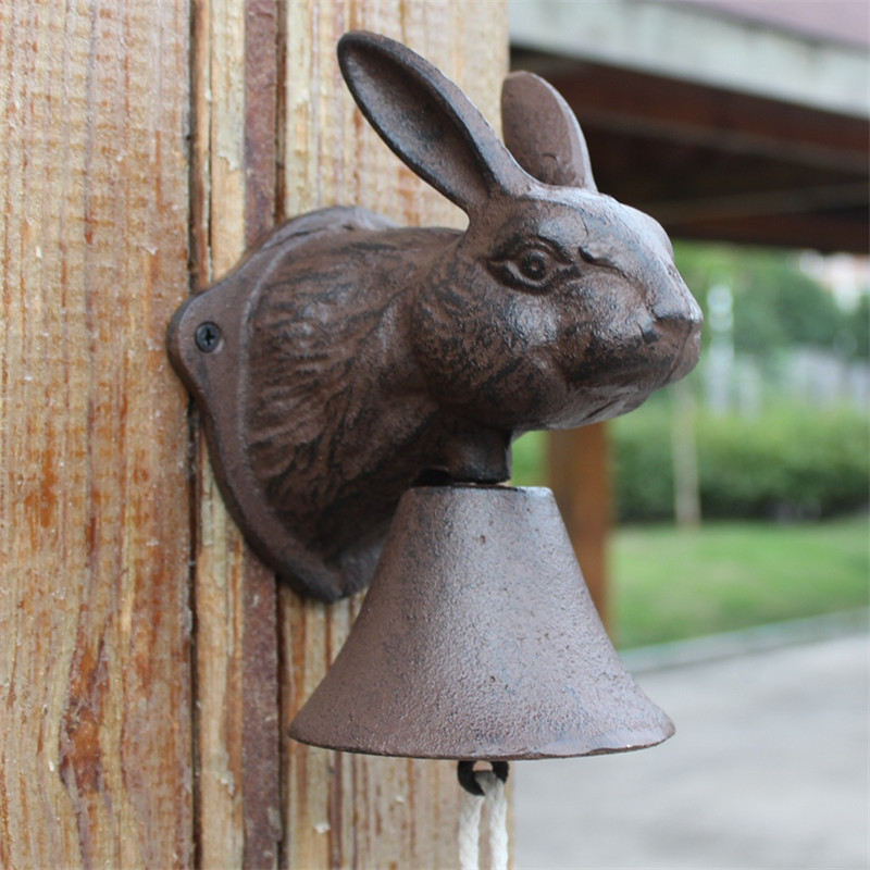 Cast Iron Welcome Dinner Bell Rabbit Wall Mount Hanging Door Bell Primitive Brown Home Garden Outdoor Decoration Country AnimalCast Iron Welcome Dinner Bell Rabbit Wall Mount Hanging Door Bell Primitive Brown Home Garden Outdoor Decoration Country Animal