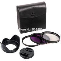 55MM UV CPL FLD Filter Kit Cap Lens Hood For Canon Rebel T4i T3i T3 T2i