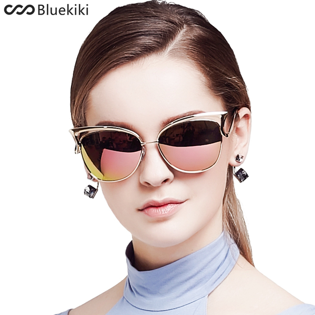 KIKI Mulheres Polarizada Óculos De Sol Olhos de Gato Retro Metal Condução  UV400 Ouro Óculos de 51d41348ed