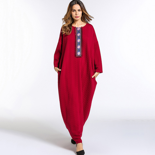4bc1144e1e69 Casual Maxi Dress women 2018 Spring Abaya O neck long dress red patchwork  Muslim Long Sleeve