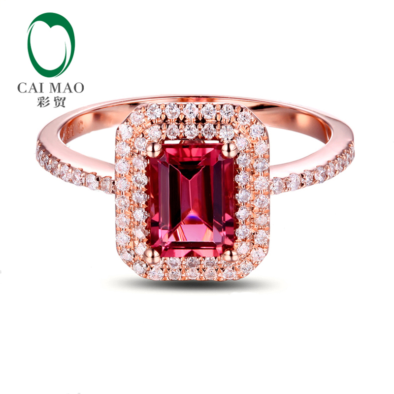 Caimao 14k Rose Gold 1.12ct Pink Tourmaline Natural Diamond Engagement Ring Fine Jewelry caimao jewelry 14kt rose gold 2 31ct pink topaz and 0 24ct natural diamond engagement ring