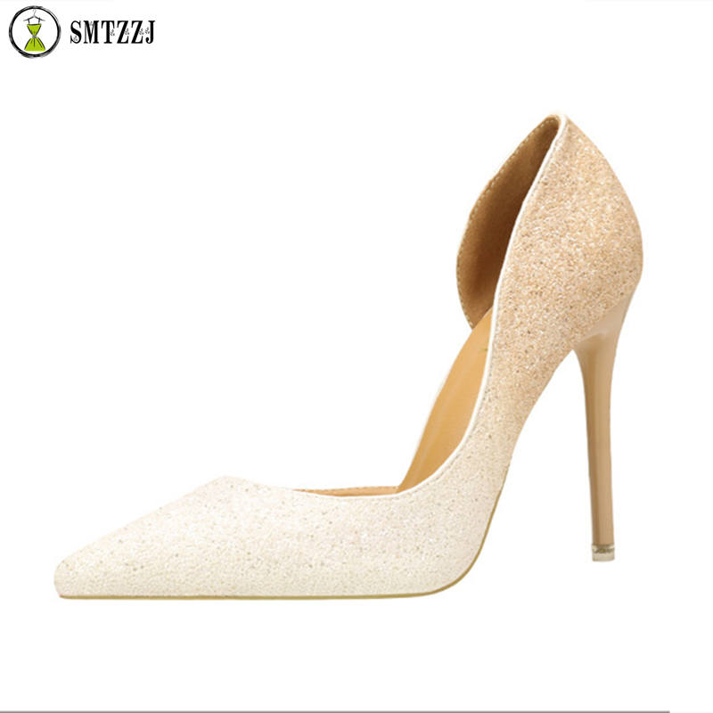 SMTZZJ 2019 Metal Carving High Heels Shoes Woman Pointed Toe Bling Pumps Formal Party Wedding Scarping Lady White Blue Shoes