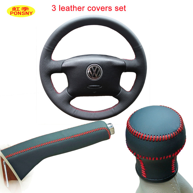 PONSNY Car Manual Shift Gear/Handbrake/Steering Gnuine Leather Covers Case for Volkswagen VW Passat B5 Hand-stitched Cover