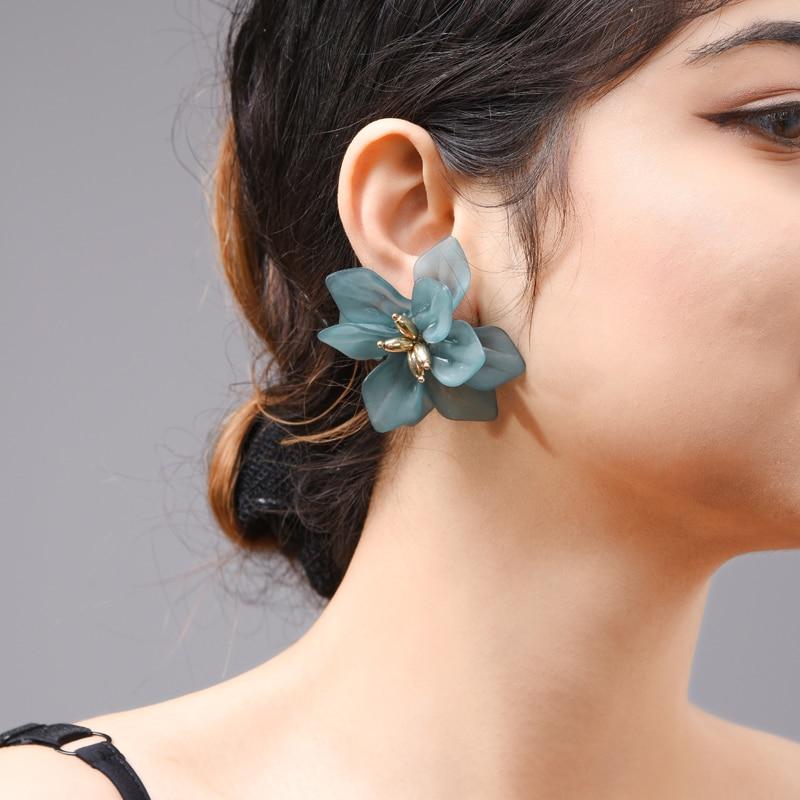 Wuli & baby Hyperbole Flower Earrings Women Acrylic Big White Orange Green Flower Holiday Earrings