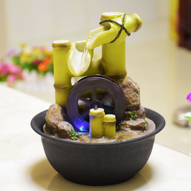 Decorative Indoor Water Fountains Resin Crafts Gifts Feng Shui Wheel  Desktop Water Fountain Home Office Teahouse Decoration E $