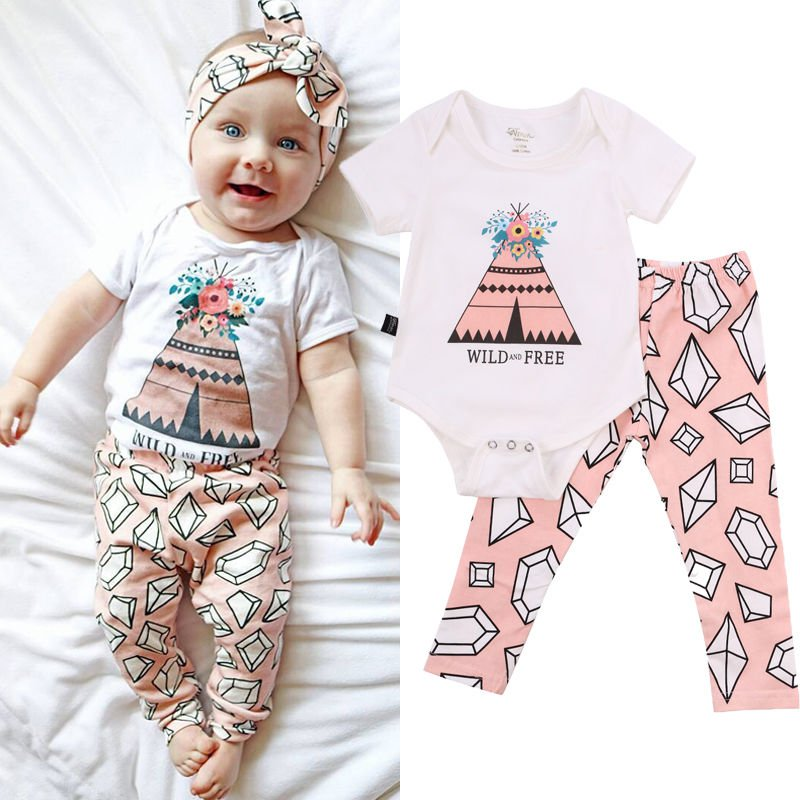 K56 2pcs Newborn Baby Boys Girls Clothes Romper Jumpsuit Bodysuit+Pants Outfits Sets New fashion 2pcs set newborn baby girls jumpsuit toddler girls flower pattern outfit clothes romper bodysuit pants