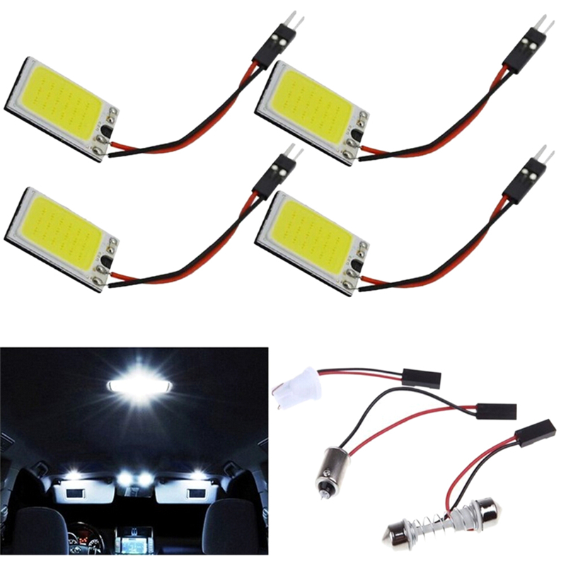 12V COB Festoon T10 BA9S C5W Dome Car LED Panel Light 18-LED COB Car Interior Dome Plate Lights High Quality image