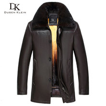 Dusen Klein 2017New Nature Leather Jacket Winter Outerwear Mink Fur Liner Genuine Sheepskin leather Coat 61H2542