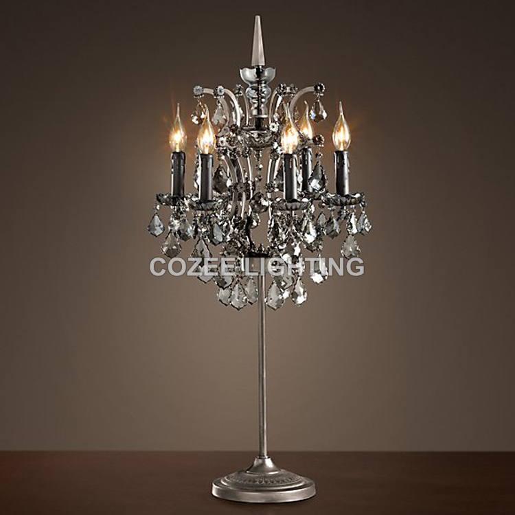 Vintage Crystal Table Lamp Classic Candle Desk Light Led Cristal