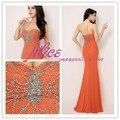 2014 precioso naranja gasa con cuentas de noche vestidos Backless Real imagen Sexy sirena cariño rebordear vestidos de fiesta Formal