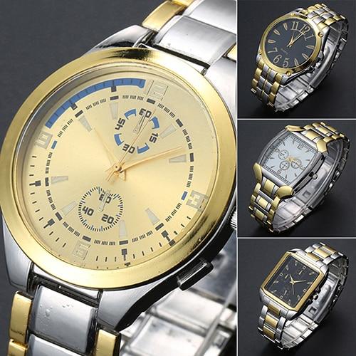 2016   New Men's Stainless Steel Band Golden Silver Tone Analog Quartz Business Wrist Watch  G6TN Birthdays Gifts 8HWG feiwo 8090g alloys plating analog quartz wrist watch for men black golden silver