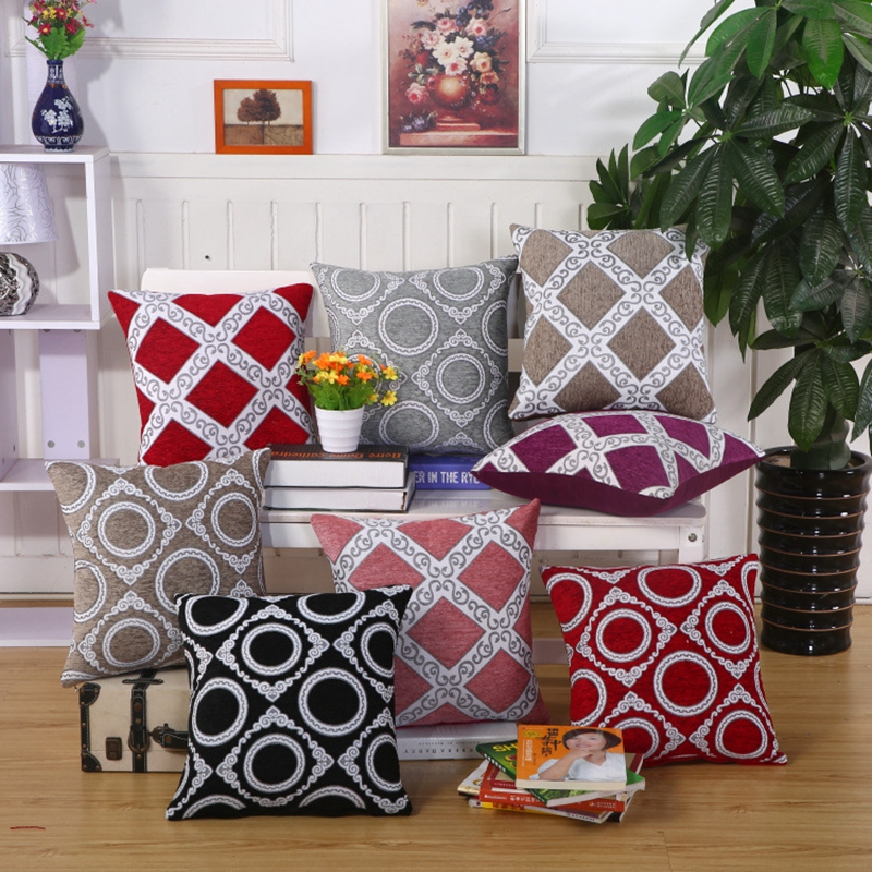 geometric pattern vintage cushion cover european classic style throw pillow covers chair sofa seat red purple decorative pillows
