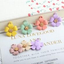 10pcs/lot Rubber Paint Flower Charms Earring DIY Alloy Pendant Flowers Enamel Charm Bracelet Jewelry Accessory 19*21MM YZ454