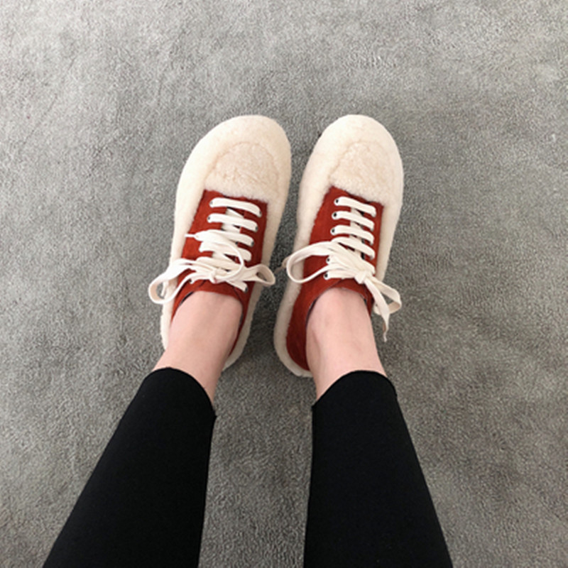 Zapatillas Mujer À Daim Cuir Véritable Femmes Baskets Chaussures En De As Pic Casual Avec Lacets Mode Rue Luxe Fourrure Marque Femme Appartements rfFdrq