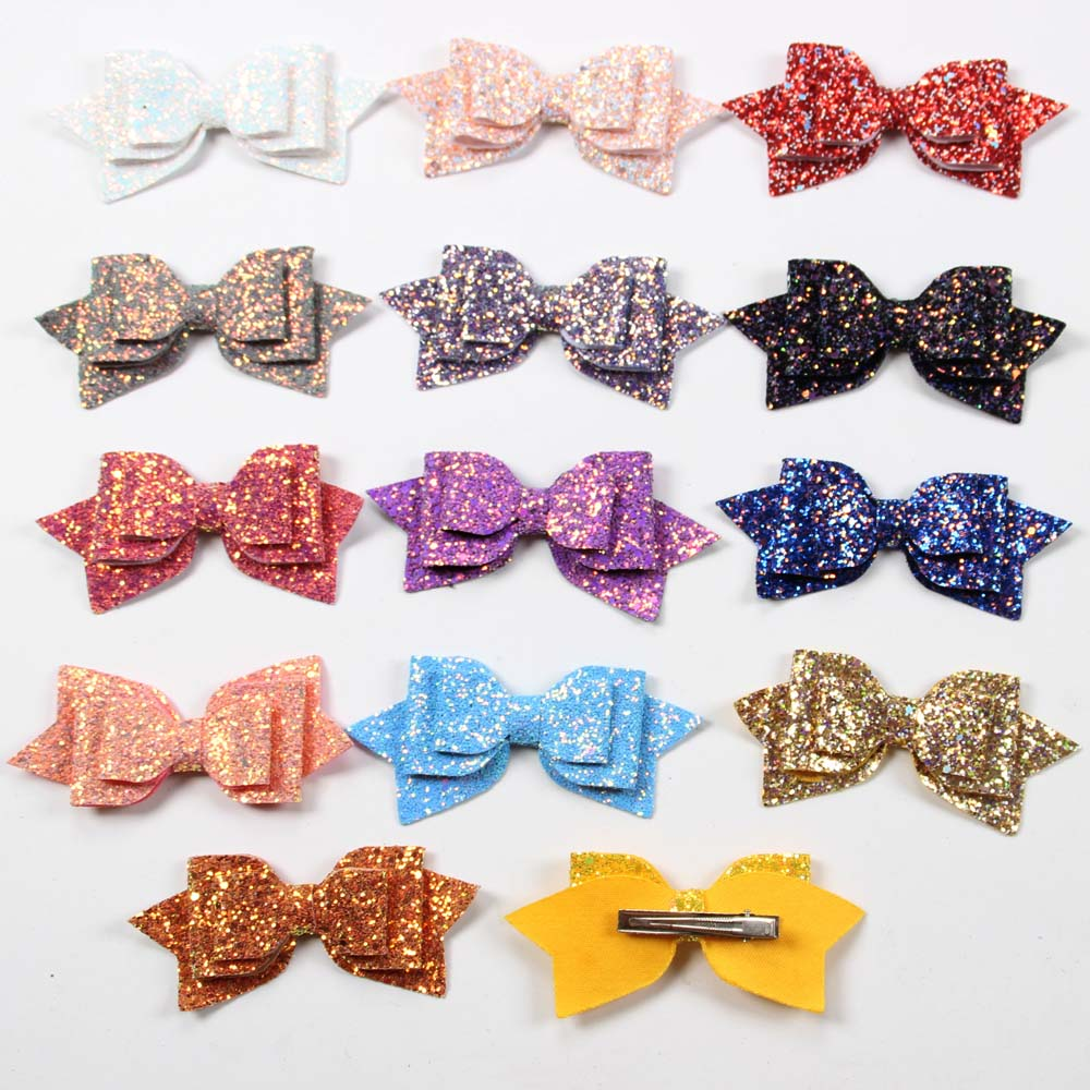 """ORANGE AND GREEN SPARKLY GLITTER 3/"""" DOUBLE HAIR BOW GIRLS ALLIGATOR CLIP"""