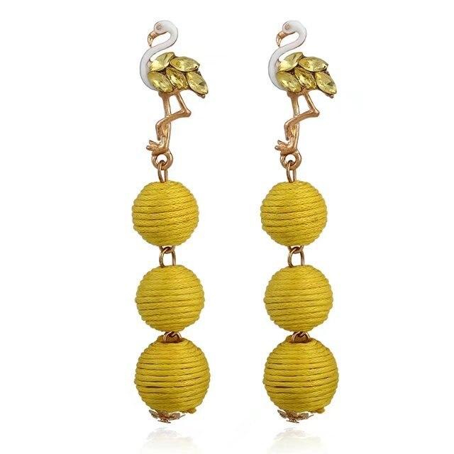 New Rhinestone Flamingo Statement Earrings Ball Pendant Pom Pom Long Drop Earrings for Women Fashion Party Earring Jewelry
