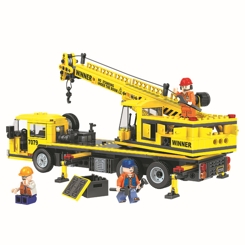 WEILE City Construction Team Crane Building Blocks Sets Bricks Model Kids Gifts Toys Compatible Legoings weile technic city snowmobile model building blocks sets bricks kids classic toys gifts for children compatible legoings car
