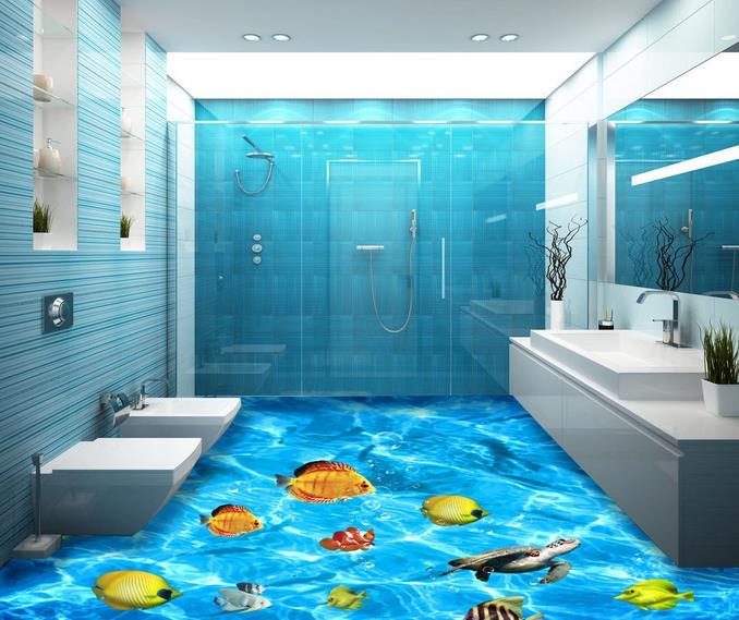 ФОТО custom 3d flooring wallpaper murals Ocean World 3d wall murals 3d flooring Waterproof wall paper wallpapers for living room