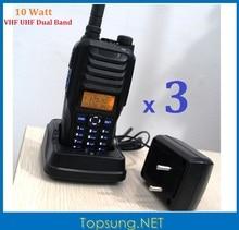 DHL Free 3PCS Twin Band Handheld Radio VHF UHF 10W 10km helpful talky twin band 2-way walkie talkies RS589 tri-color LCD