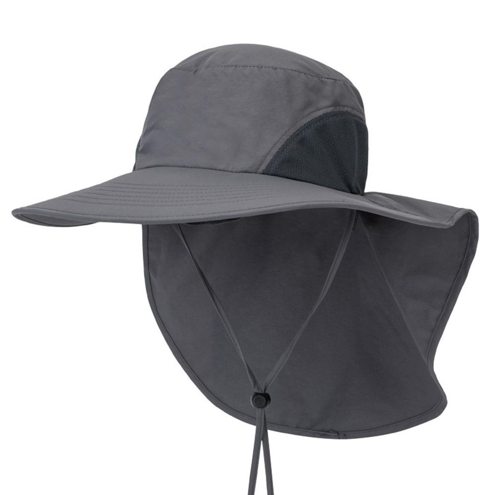 Summer Sun Hat Bucket Men Women Boonie Hat With Neck Flap Outdoor UV Protection Large Wide Brim Hiking Fishing Mesh Breathable #