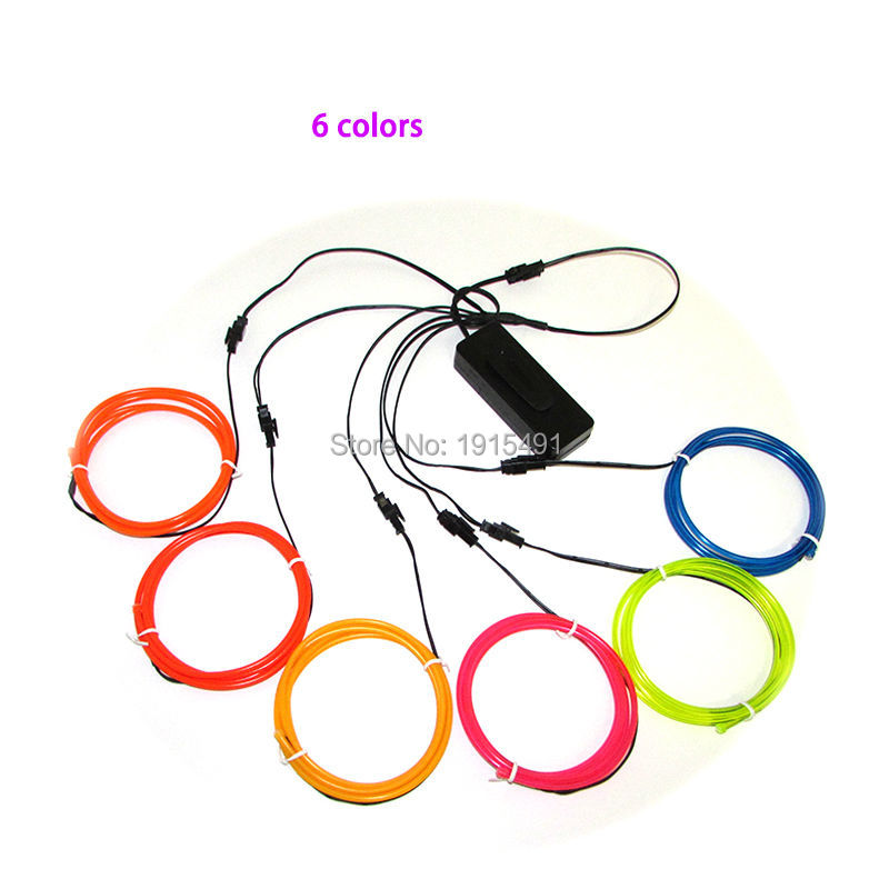 3.2mm EL Wire Rope Tube Diy Design House Decorative With DC3V Cell Box 1Meter 6Pcs Neon Glow Light Flickering Car Party Lighting