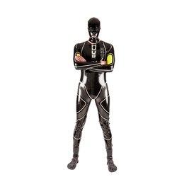 Puro 100% Lattice di Gomma Degli Uomini Bello Catsuit Tute Tuta Suit Size XXS-XXL