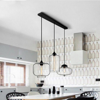 Phube Lighting Modern Glass Pendant Light Bar Restaurant Living Room Pendant Light Lighting Included Edison Bulbs