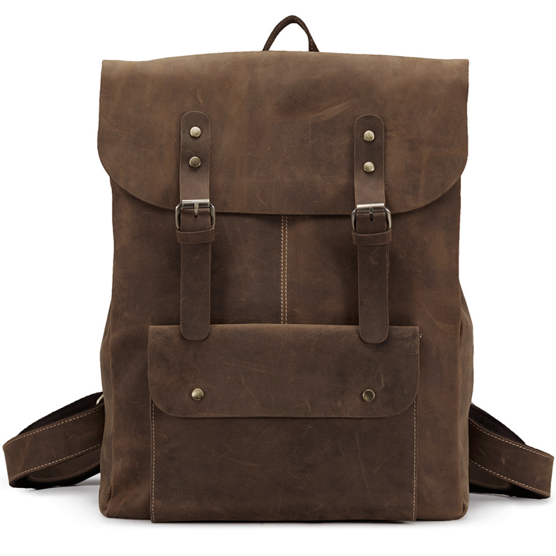Men Genuine Leather High-capacity Backpack Travel Bag  Crazy Horse Leather Famous Brand  Fashion 14 Inch Notebook bag J50 high quality authentic famous polo golf double clothing bag men travel golf shoes bag custom handbag large capacity45 26 34 cm