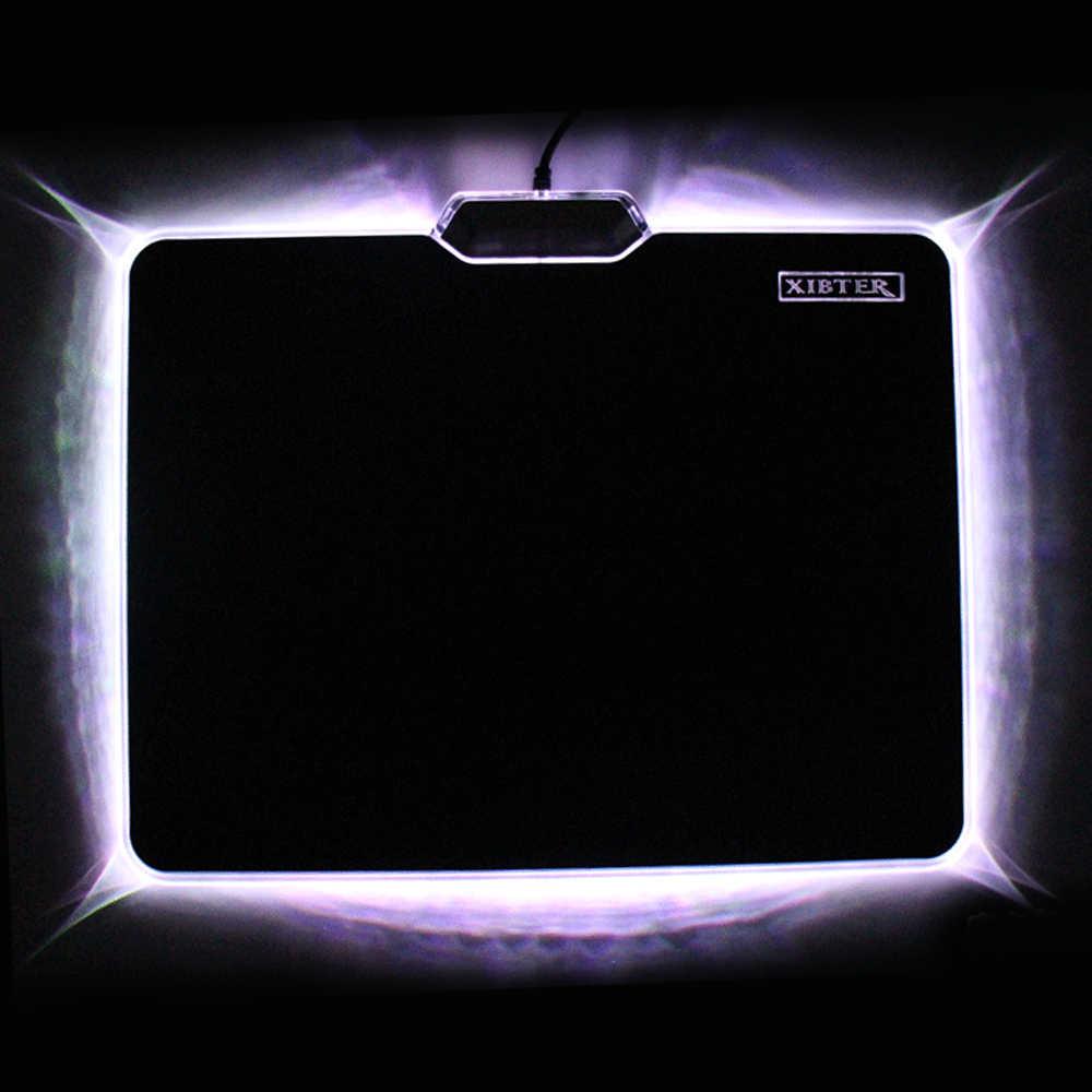 Горячая Распродажа, крутой светящийся коврик для мыши 300x240 мм, Нескользящий Резиновый нижний СВЕТОДИОДНЫЙ светильник с краями, коврик для мыши для ноутбука, настольного ПК, настольного ПК, настольного компьютера, видеоигры