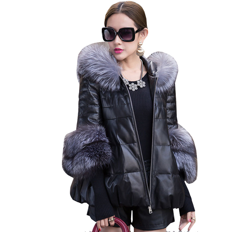 New   Leather   Jackets Coat 2019Winter Women Big Fur Hooded warm Casual Sheepskin   Leather   Jacket Thicken PU Overcoats parkas Female