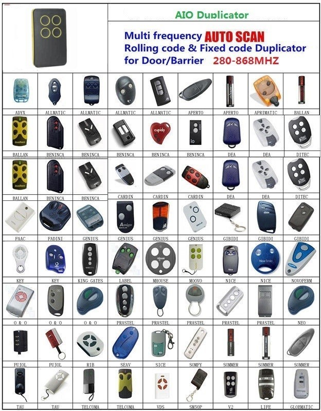 BALLAN  NICE SOMFY  AIO SCAN  remote  Rolling code & Fixed Code 280-868 Mhz Multi frequency DuplicatorBALLAN  NICE SOMFY  AIO SCAN  remote  Rolling code & Fixed Code 280-868 Mhz Multi frequency Duplicator
