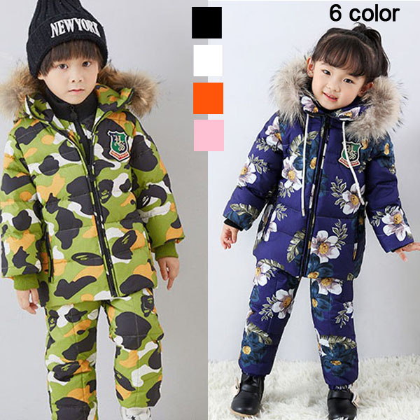 Children's clothing boys and girls down jackets in winter thick down split suits