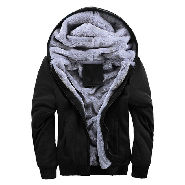 Laamei Men's Hooded Jackets Plus Velvet Winter Jacket Men Thick Warm Male Jackets And Coats Solid Color Casual Jacket For Men
