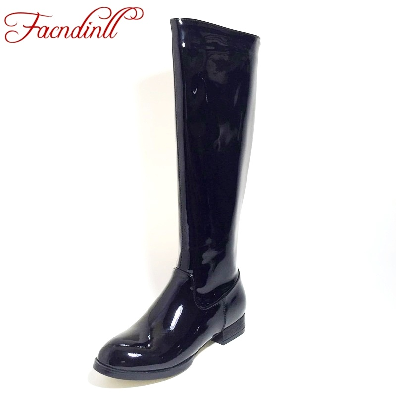 FACNDINLL new fashion patent leather shoes woman autumn winter warm knee high boots low heels black zip women riding boots 34-43 fashion autumn and winter style flock leather women fringe flat heels long boots woman keep warm tassel knee high boots